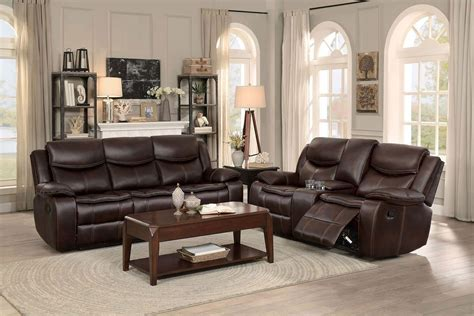 reclining living room furniture sets bastrop reclining living room set brown homelegance