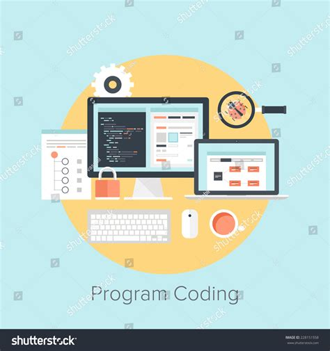 application design concepts for industrial applications abstract flat vector illustration software coding stock