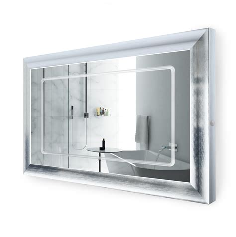 48 inch bathroom mirror led lighted 48 inch x 30 inch bathroom silver frame mirror with defogger