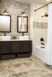 Tile In Bathroom Ideas photo ideas of using grey brown bathroom tiles in both these options