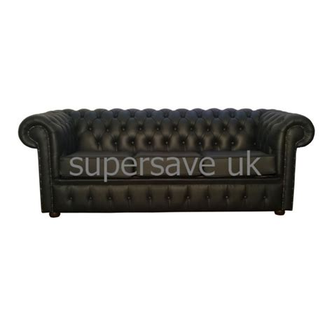 Chesterfield Shelly Black Genuine Leather Three Seater Genuine Leather Sofa Bed