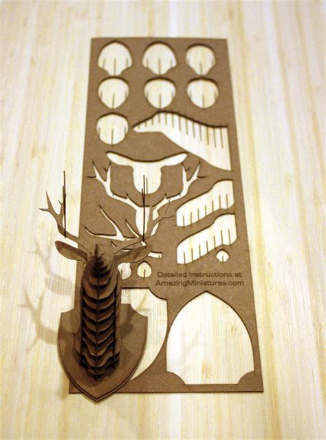 diy cardboard deer template the mini cardboard animal trophy is completed make