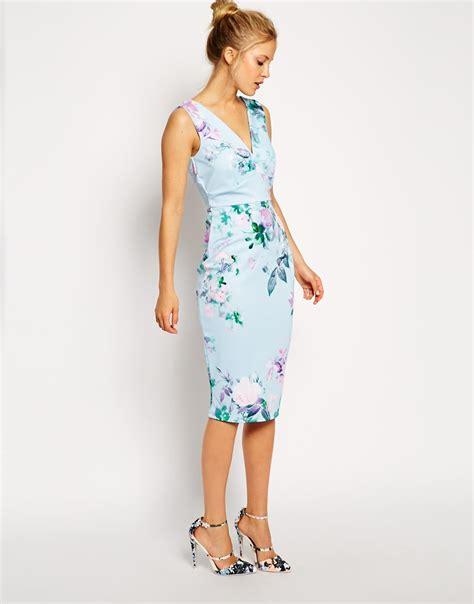 Blue Floral Dress 30165 lyst asos blue floral pencil printed conscious dress in blue