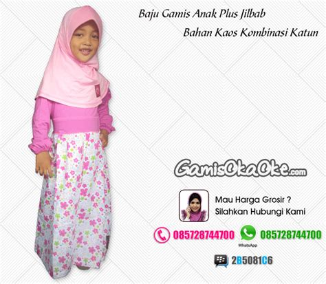Konveksi Jilbab Anak gamis anak oka oke bahan kaos plus jilbab terbaru baju gamis produksi konveksi oka oke