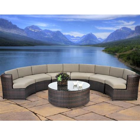 Half Circle Patio Furniture Serenity 7 Semicircle Sectional Sofa Set All Weather Wicker Outdoor Sectional Set Family