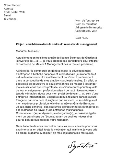 Exemple De Lettre De Motivation Pour Un Master Lettre De Motivation Master Management Mod 232 Le De Lettre