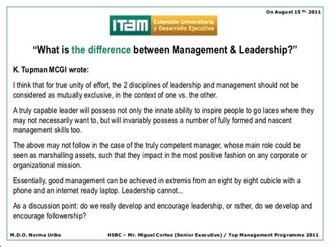Itam Mba Curriculum by Itam Management Vs Leadership On August 2011
