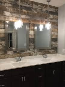 master bath double vanity sink barn wood accent wall