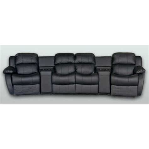 home theatre recliner lounge leather 4 seater home theatre entertainment lounge suite