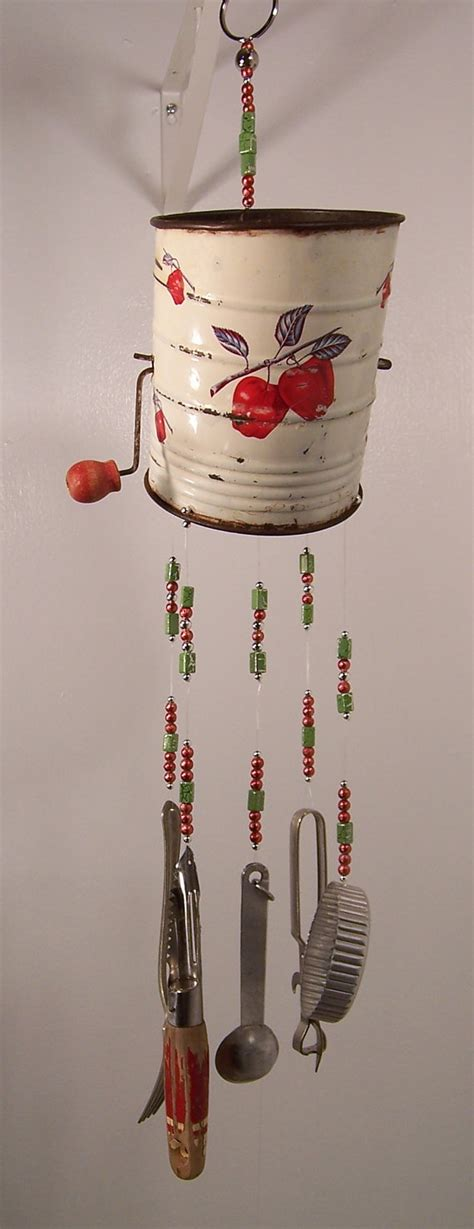 Wind Chimes Handmade - wind chime repurposed sifter kitchen wind chime in the