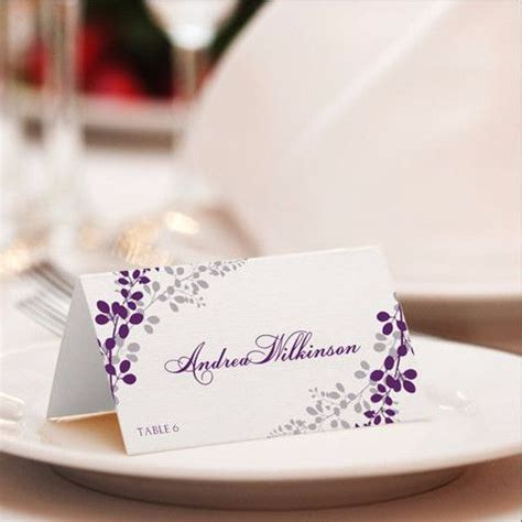 purple place cards template place card template exquisite vines purple silver