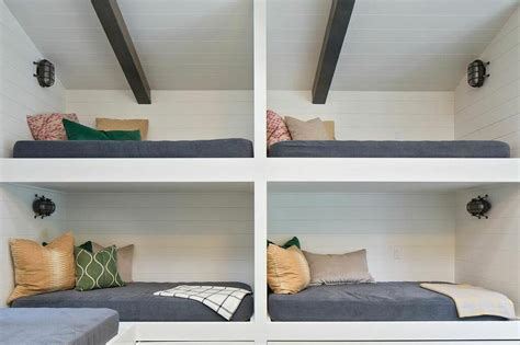 bunk beds for ceilings built in bunk beds lined with shiplap cottage bedroom