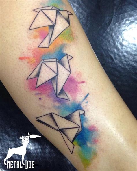 watercolor tattoo origami artist benhurleite origami watercolor