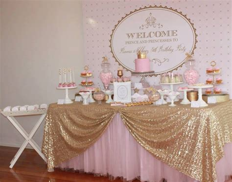 great sparkly gold tablecloth with pink tutu lovely