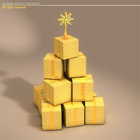 xmas gift box tree 3d model in collada dae cinema 4d c4d