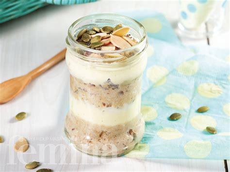 cara membuat yogurt instan overnight oats with dates