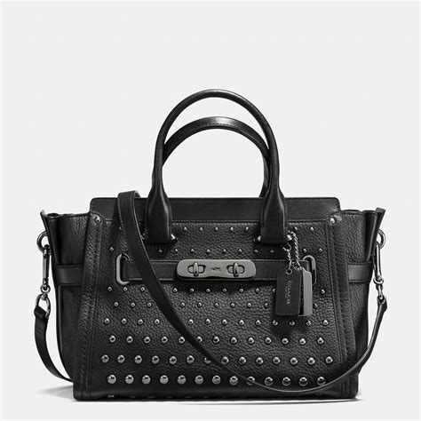 Coach Swagger 27 Tas Asli Original Bag Branded Bag Authentic Bag coach swagger 27 with ombr 233 rivets in black lyst