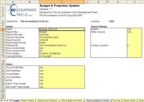 Budget Projection System Excel Template For Accounting Kukkoblock Templates Budget Projection Template