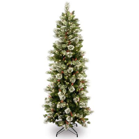 snow and berries christmas tree 7 5 pre lit slim wintry pine artificial tree with cones berries and snow clear