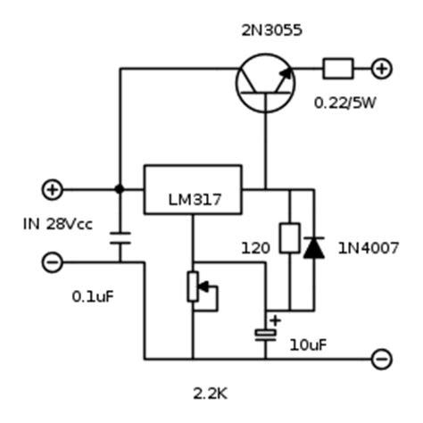 2n3055 alimentatore pin lm317 con 2n3055 on