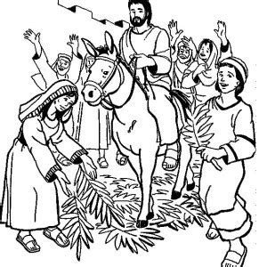jesus rode a donkey to jerusalem in palm sunday coloring