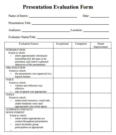 evaluation form templates 7 sle presentation evaluations pdf sle templates