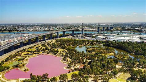pink lake melbourne a salt on the senses vibrant pink lake sends melbourne