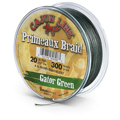 gator braid cajun line 300 yds of 20 lb braid line gator green