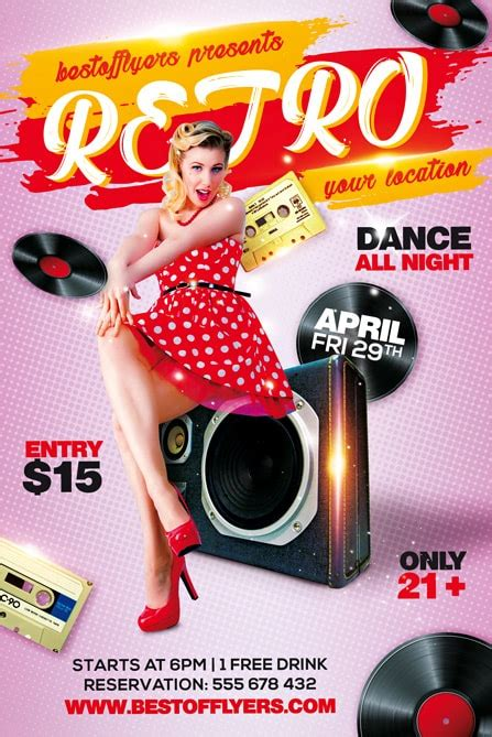 template flyer retro retro party free flyer template for old school music party