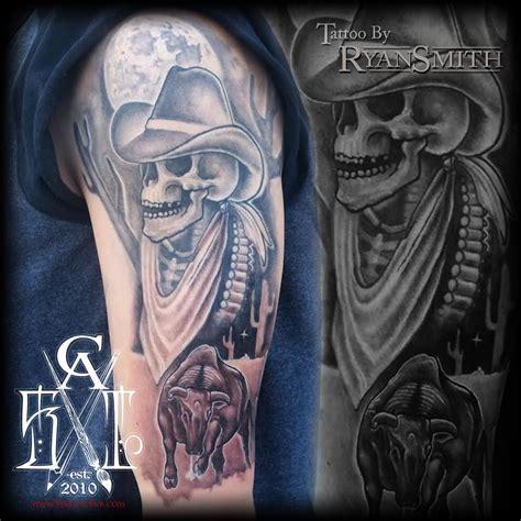 cowboy skull tattoo designs skull cowboy black and white dead cowboy half sleeve