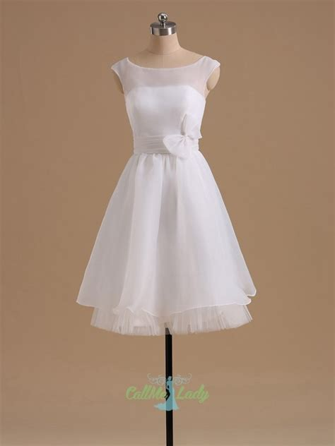 simple white high neck bowknot sleeveless short wedding