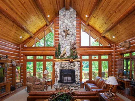 Small Log Cabin Plans by Living Rooms With Stone Fireplaces Chalet Style Living