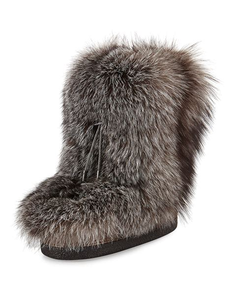 snow boots with fur lyst brunello cucinelli fox fur snow boot with monili