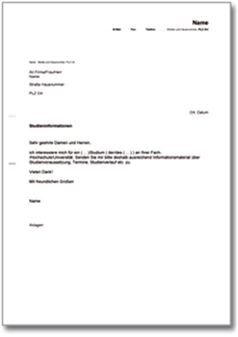 Anfrage Briefvorlage Anfrage Wegen Der Immatrikulation An Einer Hochschule De Musterbrief