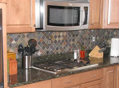 slate backsplash kitchen ceramictec multi color tumbled slate kitchen backsplash