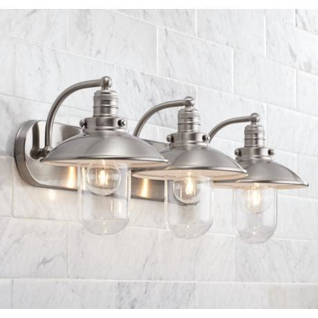 light bulbs for bathroom fixtures downtown edison 28 1 2 quot wide brushed nickel bath light