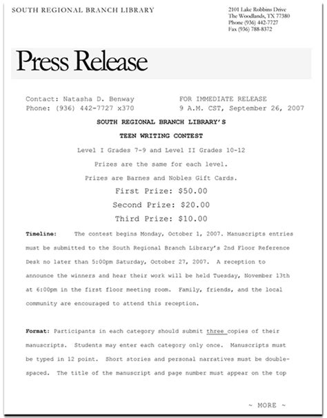 simple press release template program materials tslac