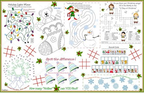 printable christmas placemats to color placemat christmas printable activity sheet 7 stock
