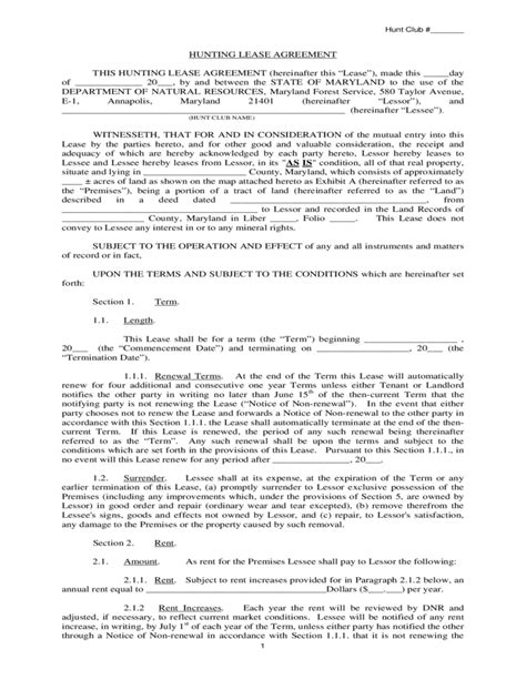 Hunting Rental And Lease Form Maryland Free Download Md Lease Agreement Template