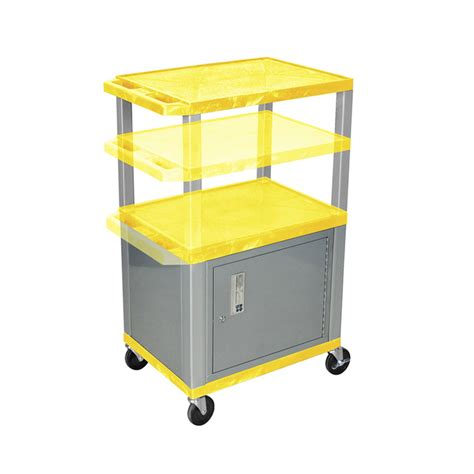 Multi Shelf Cart by Luxor Wt2642yc4 N Yellow 3 Shelf Multi Height Cart With