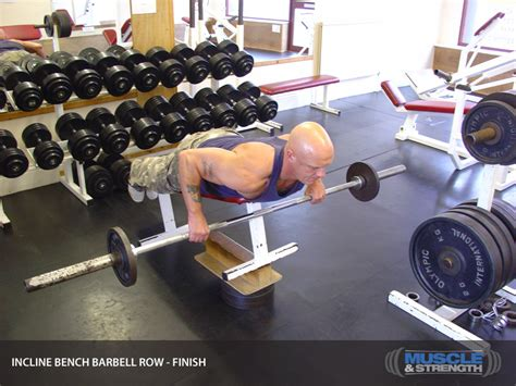 incline bench row incline bench barbell row video exercise guide tips