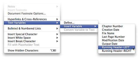 indesign running header running header text variables in adobe indesign cs4