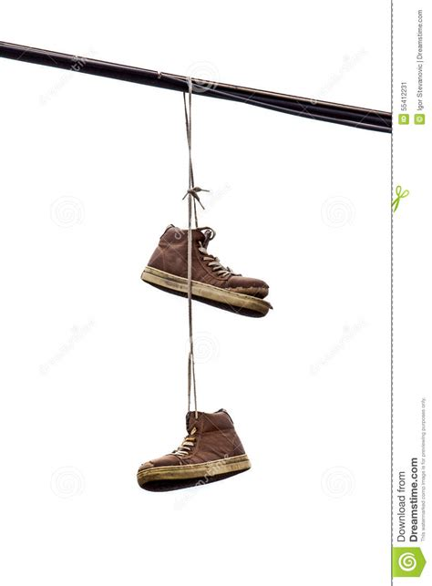 hanging photos on wire shoe tossing old sneakers hanging on wire stock image