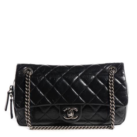 Bag Fashion 78021 chanel glazed calfskin duo color medium flap black 78021