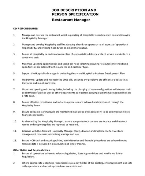 theme restaurant exles food service manager responsibilities 28 images 2016