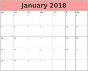 Calendar 2018 January January 2018 Calendars That Work