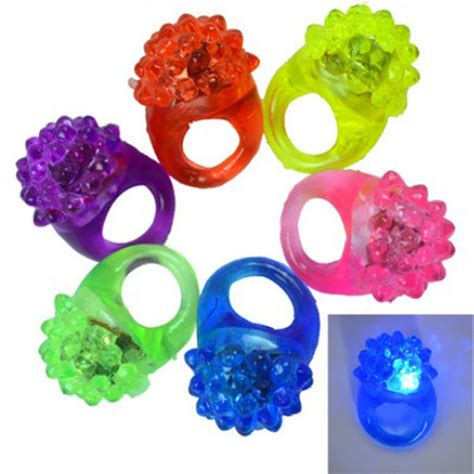 5pcs led elastic rubber blinking strawberry finger ring alex nld