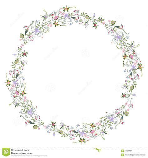 clipart fiori stilizzati corona con i fiori stilizzati di estate illustrazione