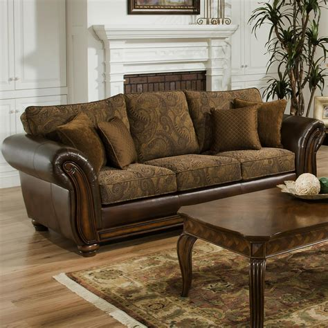 Sofa With Leather And Fabric Simmons Upholstery 8104 Stationary Leather And Chenille Sofa Royal Furniture Sofas