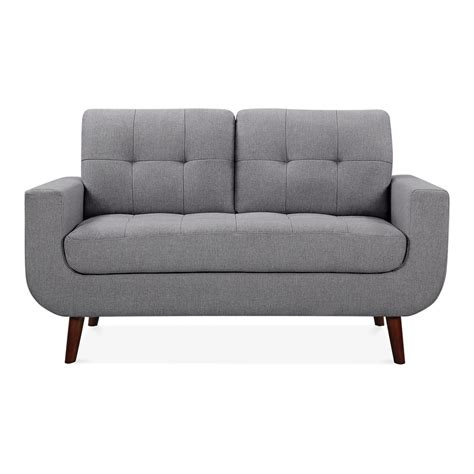 small settee sander 2 seater small sofa fabric upholstered grey cult